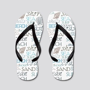 Beach Typography Flip Flops