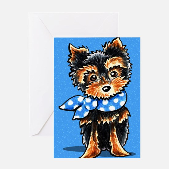Baby Blue Yorkie Azure Greeting Cards