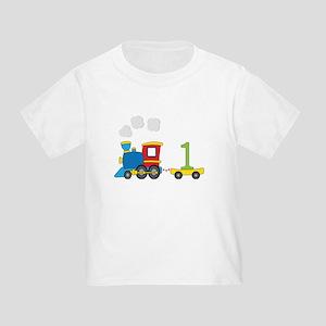 1 Year Old Train Birthday T Shirt