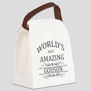World's Most Amazing Godson Canvas Lunch Bag