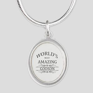 World's Most Amazing Godson Silver Oval Necklace