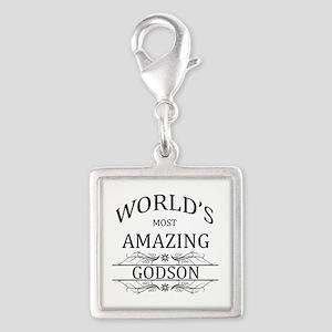 World's Most Amazing Godson Silver Square Charm
