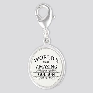 World's Most Amazing Godson Silver Oval Charm