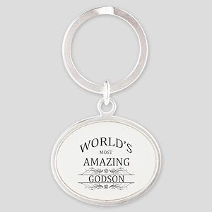 World's Most Amazing Godson Oval Keychain