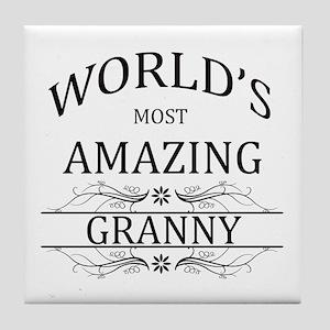 World's Most Amazing Granny Tile Coaster
