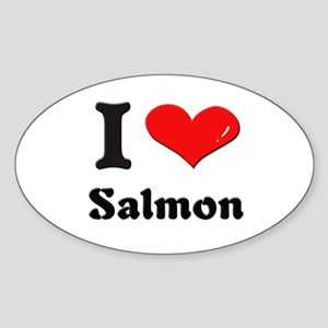 I love salmon Oval Sticker