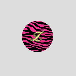 HOT PINK ZEBRA GOLD Z Mini Button