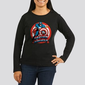 Captain America Women's Long Sleeve Dark T-Shirt