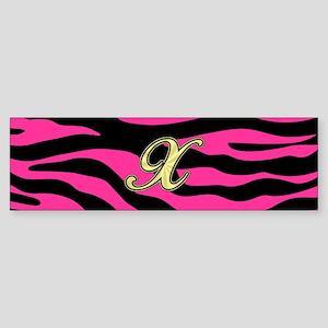 HOT PINK ZEBRA GOLD X Bumper Sticker