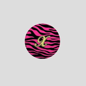 HOT PINK ZEBRA GOLD X Mini Button