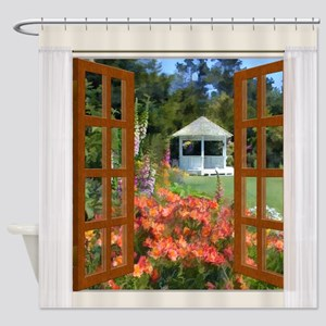 Window View of Garden Gazebo Shower Curtain