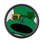 Leprechaun Hat with Shamrock Large Wall Clock