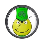 Smiley with Shamrock Wall Clock