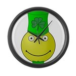 Smiley with Shamrock Large Wall Clock