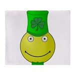 Smiley with Shamrock Throw Blanket