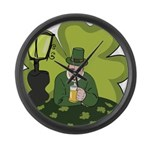 St Patricks Day Man with Beer Large Wall Clock