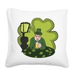 St Patricks Day Man with Beer Square Canvas Pillow