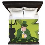 St Patricks Day Man with Beer King Duvet