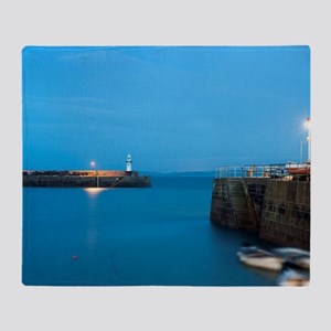 St Ives harbour at night Throw Blanket