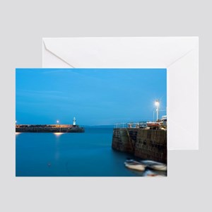 St Ives harbour at night Greeting Card
