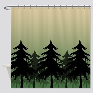 Green Silhouette Forest Shower Curtain