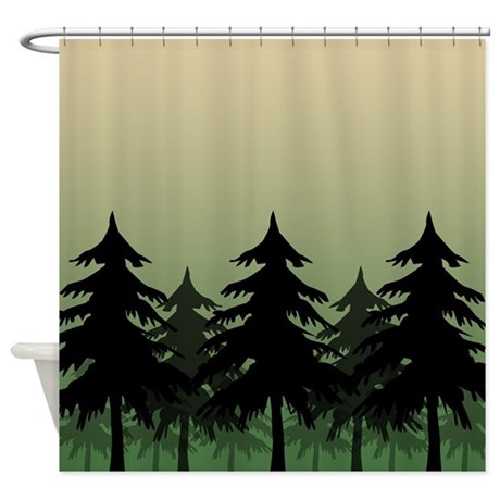 Green Silhouette Forest Shower Curtain By Curtainsforshowers