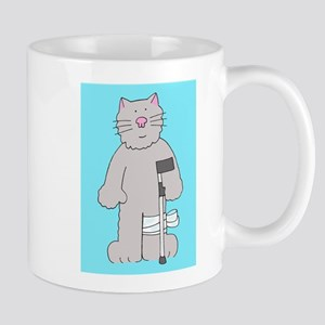 Cat on a crutch, knee surgery get well. Mugs