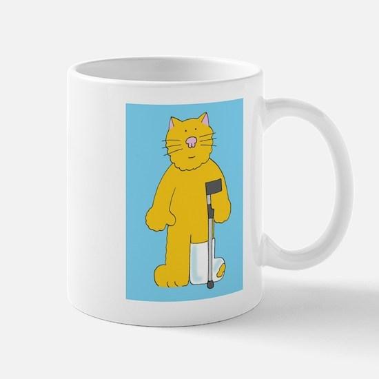 Leg in plaster cast, get well soon cat. Mugs