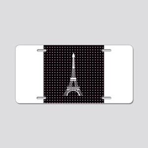 White Eiffel Tower on Pink and Black Polka Dots Al