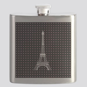 White Eiffel Tower on Pink and Black Polka Dots Fl