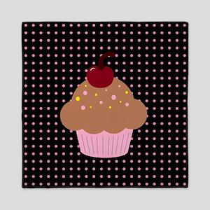 Pink and Brown Cupcake on Pink and Black Polka Dot