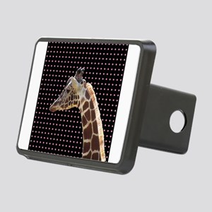 Giraffe on Pink and Black Polka Dots Hitch Cover