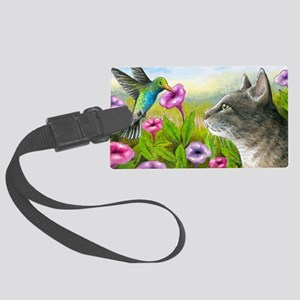 Cat 591 with Hummingbird Large Luggage Tag