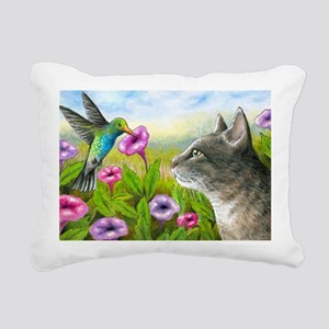 Cat 591 with Hummingbird Rectangular Canvas Pillow