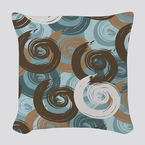 Abstract curls teal brown Woven Throw Pillow