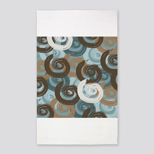 Abstract curls teal brown 3'x5' Area Rug