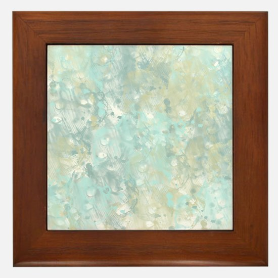 Abstract watercolor blue yellow Framed Tile
