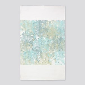 Abstract watercolor blue yellow 3'x5' Area Rug