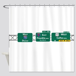 P-Nuckle Drives Down I-25 Shower Curtain