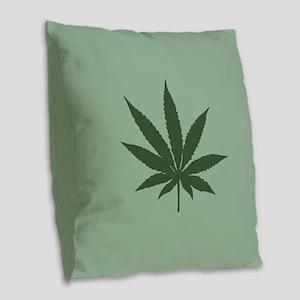 Pot Leaf Burlap Throw Pillow