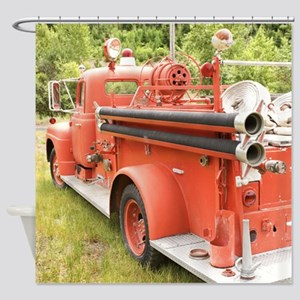 VINTAGE FIRETRUCK Shower Curtain