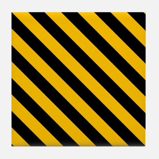 Caution Stripes Tile Coaster