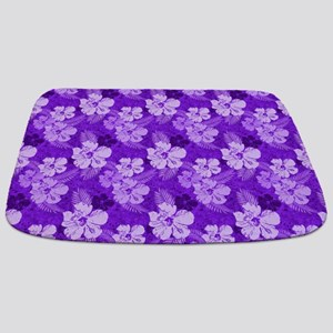 Hibiscus Purple Tropical Flowers Bathmat