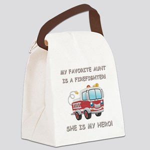 MY FAVORITE AUNT IS A FIREFIGHTER Canvas Lunch Bag