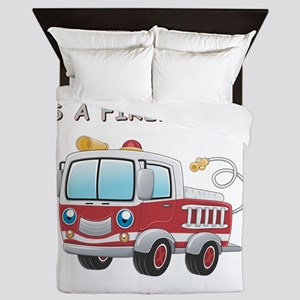 MY DADDY IS A FIREFIGHTER Queen Duvet