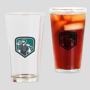 Lumberjack Holding Axe Shield Retro Drinking Glass