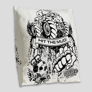 Hit The Mud Jeep Burlap Throw Pillow