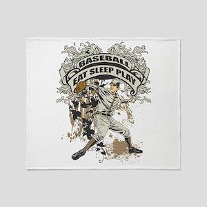 Eat Sleep Play Baseball Throw Blanket