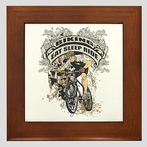 Eat Sleep Ride Biking Framed Tile