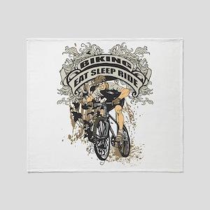 Eat Sleep Ride Biking Throw Blanket